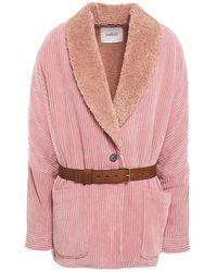 Ba&sh Faux Shearling-lined Corduroy Coat Antique Rose - Pink
