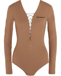 Off-White c/o Virgil Abloh - Lace-up Appliquéd Stretch-jersey Bodysuit - Lyst