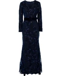 Badgley Mischka Layered Sequin-embellished Embroidered Tulle Gown Navy - Blue
