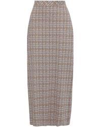 Rosetta Getty Checked Woven Maxi Skirt - Brown