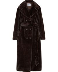 Stand Studio Faustine Oversized Double-breasted Faux Fur Coat Dark Brown