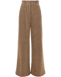 Missoni Herringbone Wool And Cotton-blend Wide-leg Trousers Camel - Natural