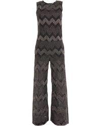 M Missoni Metallic Crochet-knit Jumpsuit - Black