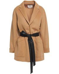 Maje Belted Wool-blend Brushed-felt Coat - Multicolour