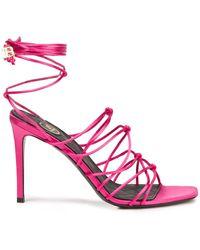 Balmain Mikki Lace-up Knotted Satin Sandals - Pink