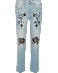 Bliss and Mischief | Conjure Embroidered High-rise Straight-leg Jeans | Lyst