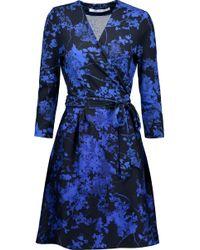 Diane von Furstenberg - Valerie Printed Wool And Silk-blend Wrap Dress - Lyst