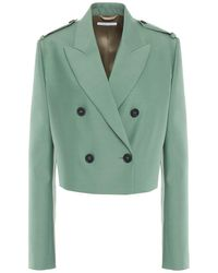 Helmut Lang Double-breasted Wool And Silk-blend Blazer - Green