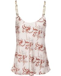 Paco Rabanne Chain-trimmed Printed Satin Camisole Pastel Pink