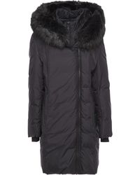 DKNY Faux Fur-trimmed Quilted Shell Hooded Coat Black
