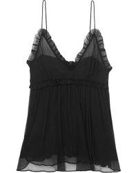 Lee Mathews Nina Ruffle-trimmed Crinkled Silk-chiffon Camisole Black