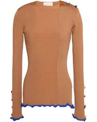 ROKSANDA - Ruffle-trimmed Button-detailed Ribbed-knit Top - Lyst