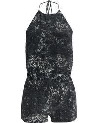 Mikoh Swimwear - Woman Leopard-print Silk Crepe De Chine Halterneck Playsuit Charcoal - Lyst