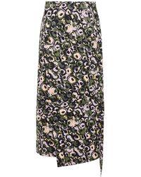 Marni - Printed Cotton Midi Wrap Skirt Army Green - Lyst