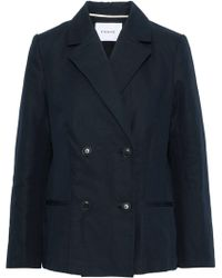 FRAME Double-breasted Cotton And Linen-blend Blazer Midnight Blue