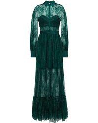 Self-Portrait Gathered Chantilly Lace Maxi Dress - Green