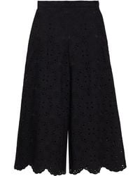 Vivetta Scalloped Broderie Anglaise Cotton-blend Culottes - Black