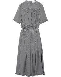 The Great The Confection Ruffled Striped Silk Midi Dress Black