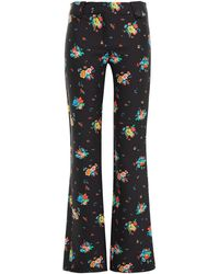 Paco Rabanne Floral-print Cotton-blend Bootcut Trousers Black