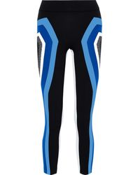 NO KA 'OI Cropped Perforated Striped Stretch Leggings Blue