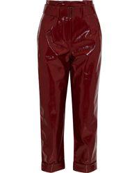 Nicholas Belted Crinkled-vinyl Straight-leg Pants Burgundy - Red