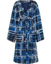 House of Holland Printed Jacquard Shirt Dress - Blue