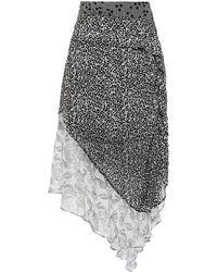 Hofmann Copenhagen Asymmetric Panelled Printed Georgette Midi Skirt - Black
