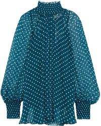 Zimmermann Moncur Gathered Polka-dot Silk-crepon Blouse Teal - Blue