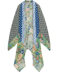 Anjuna Lia Asymmetric Patchwork Printed Silk Crepe De Chine And Chiffon Kimono Bright Blue