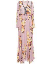 Etro Ruffle-trimmed Floral-print Jacquard And Silk Crepe De Chine Maxi Dress - Purple