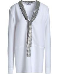 Paco Rabanne - Chainmail-trimmed Cady Blouse - Lyst