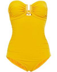 Zimmermann Bandeau-badeanzug mit raffungen und cut-outs - Gelb