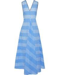 Ganni - Woman Charron Checked Cotton-blend Seersucker Maxi Dress Light Blue - Lyst