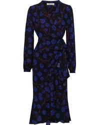 Diane von Furstenberg Carla Floral-print Crepe De Chine Wrap Dress Royal Blue