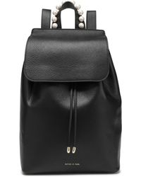 Mother Of Pearl Lola Faux Pearl-embellished Pebbled-leather Backpack Black