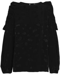 Maje Loyd Cold-shoulder Ruffled Jacquard Blouse Black