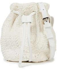 IRO Loster Leather-trimmed Crocheted Bucket Bag - White