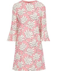 Valentino Ruffled Floral-print Wool And Silk-blend Mini Dress - Pink