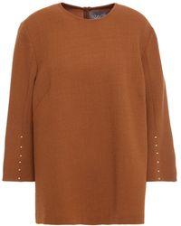 Lela Rose Embellished Wool-crepe Top - Brown