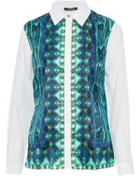 Roberto Cavalli - Printed Twill-paneled Silk-piqué Shirt - Lyst
