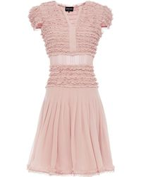 Giorgio Armani Grosgrain-trimmed Ruffled Silk-chiffon Dress - Pink