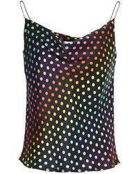 Olivia Rubin Clover Draped Polka-dot Silk-satin Camisole Black