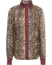 Victoria Beckham Snake-print Silk-twill Shirt - Multicolour