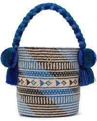 Yosuzi Safira Embellished Straw Bucket Bag Blue