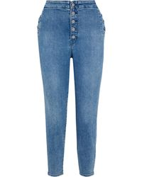 J Brand Natasha Cropped Button-detailed High-rise Skinny Jeans Mid Denim - Blue