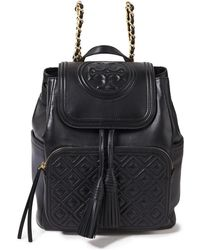 Tory Burch Fleming Embossed Quilted Leather Backpack Black