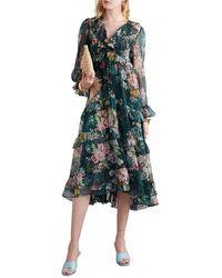 Zimmermann Wavelength Scallop Tiered Floral-print Silk-chiffon Midi Dress - Green