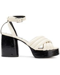 McQ Rise Quilted Leather Platform Sandals Ivory - White