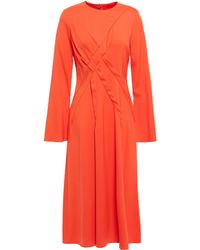 Sies Marjan Pleated Stretch-cady Midi Dress - Orange