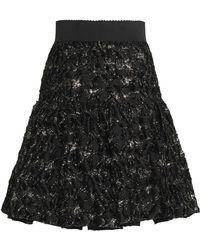 Dolce & Gabbana - Pleated Metallic Fil Coupé Twill Skirt - Lyst